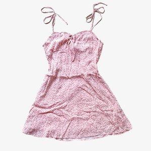 Floral Pink Tie Mini Dress NWT
